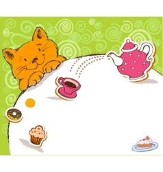 Greeting card with red cat and place for text vector