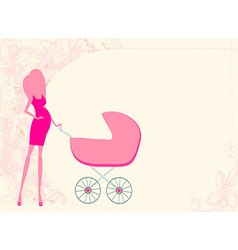 Mother silhouette with baby stroller card vector