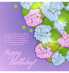 Floral decorative card with hydrangea vector image