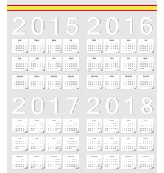 Set of spanish 2015 2016 2017 2018 calendars vector