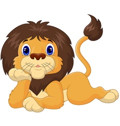 Cute cartoon lion relaxing vector