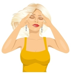 Woman touching her temples suffering a headache vector