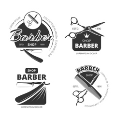 Retro barber shop logo labels and badges vector
