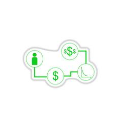Paper sticker on white background economy vector