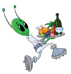 alien with tray vector image vector image