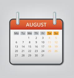 august 2018 calendar concept background cartoon vector image