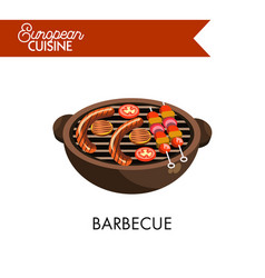 Barbecue on grill from european cuisine isolated vector
