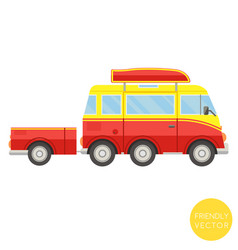 Cartoon transport van with trailer vector