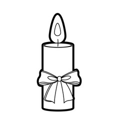 christmas candle bow flame decoration icon vector image