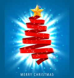 christmas tree made of red ribbon on blue vector image
