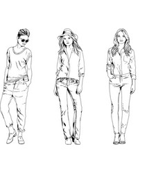 collection of girls drawn in ink by hand vector image vector image