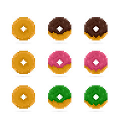 Colored donuts set in pixel art style pink vector