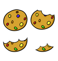 colorful chocolate chip cookies hand drawing vector image