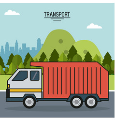 colorful poster of transport with outdoor vector image