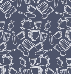 Dishes blue pattern vector image