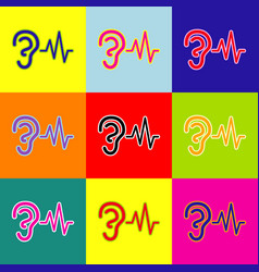 Ear hearing sound sign pop-art style vector