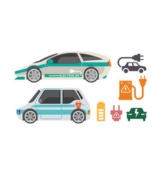 Electorocars and ways of charging colorful poster vector