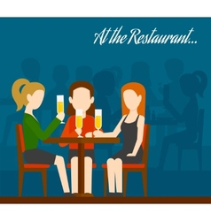 Friends Meeting In Restaurant vector image