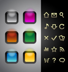 glowing buttons vector image vector image