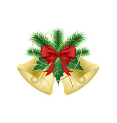 Golden christmas bells with ribbon green branches vector