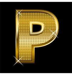 Golden font type letter p vector