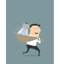 Happy cartoon businessman with stolen idea vector image vector image