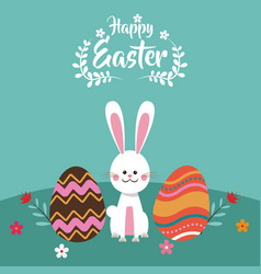 Happy easter bunny egg flowers vector