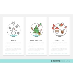 Merry christmass thin line brochures with icons vector