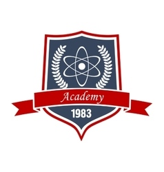 Physics academy emblem with shield and atom vector