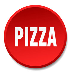 Pizza red round flat isolated push button vector