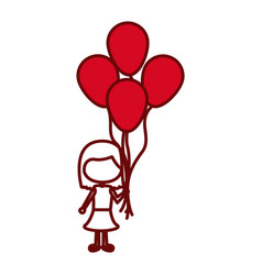 Red silhouette of caricature faceless girl with vector