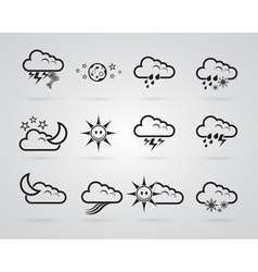 Set of different grey weather icons vector