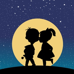 Silhouette of a boy and a girl kissing in the vector image