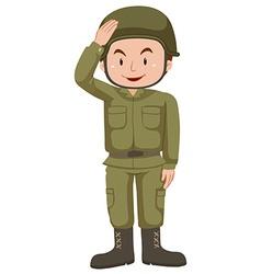 Soldier in green uniform vector