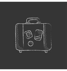 Suitcase drawn in chalk icon vector