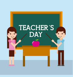 teacher day greeting girl and boy apple desk vector image