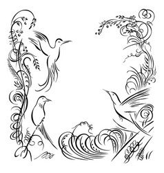 Three birds calligraphy swirling grass flowers vector