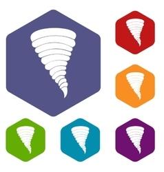 Tornado icons set vector