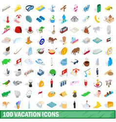 100 vacation icons set isometric 3d style vector