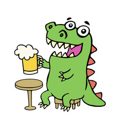 Funny dinosaur sitting with a mug of beer vector