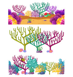Three scenes with coral reef underwater vector