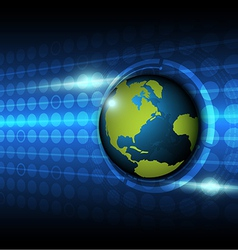 Global on technology background vector