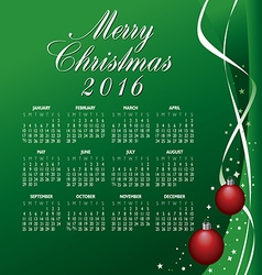 2016 merry christmas calendar vector