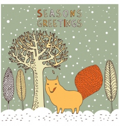 Seasons greetings card vector