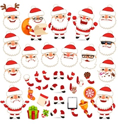 Set of cartoon santa claus character vector