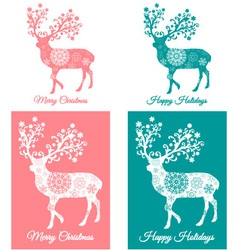 Teal and coral christmas cards with deer vector