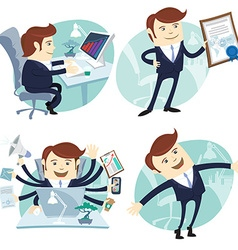 Office man set showing a diploma happy worker busy vector