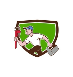 Plumber running toolbox wrench crest cartoon vector