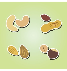Set of color icons with beans and nuts vector