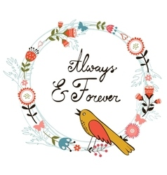 Always and forver card with cute bird vector